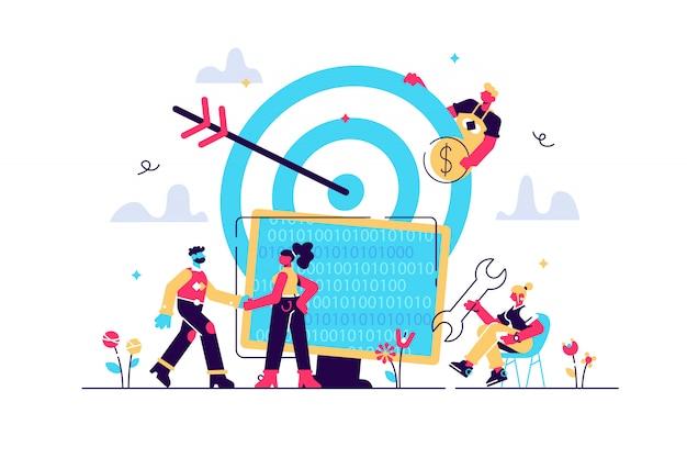 Concept bereik het doel voor webpagina's, banner, presentatie, sociale media, documenten. illustratie business dragers een succesvol team, carrière naar succes, goed werk, code, webontwikkeling Premium Vector