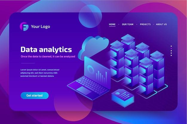Concept business analytics van financiële gegevens grafieken of diagrammen, bestemmingspagina sjabloon. isometrisch Premium Vector