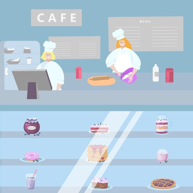 Concept café winkel, karakter mensen bereiden zoete, patisserie illustratie. interieur snoep workshop. Premium Vector