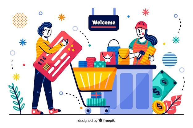 Concept creditcard bestemmingspagina Gratis Vector