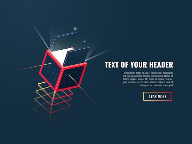Concept digitaal uitpakkend product, nieuwe update of weg, unboxing van technologiebox Gratis Vector