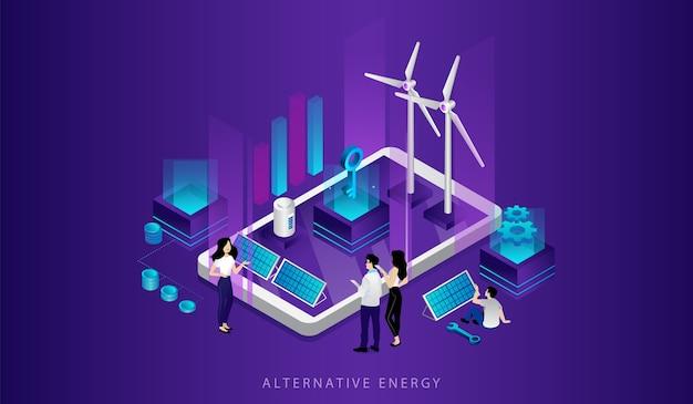 Concept ecotechnologieën. mannen, vrouwen gebruiken alternatieve energiebronnen. vriendelijke besparing van hernieuwbare energie. elektriciteitscentrale station met zonnepanelen, windmolenturbines. Premium Vector