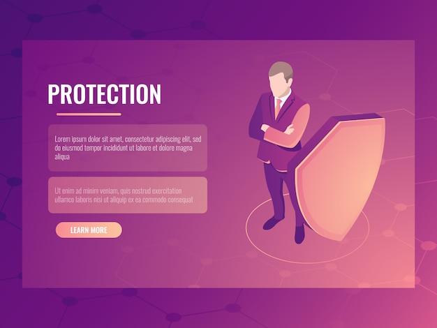 Concept financiënveiligheid en risicobescherming, zakenman met schild, gegevensbescherming Gratis Vector