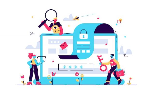 Concept gegevensbescherming, beveiliging, veilig werken voor webpagina's, de bescherming van persoonlijke gegevensbanners, sociale media, documenten, kaarten, posters. illustratie gdpr, bestandsbeveiliging. privacy concept. Premium Vector