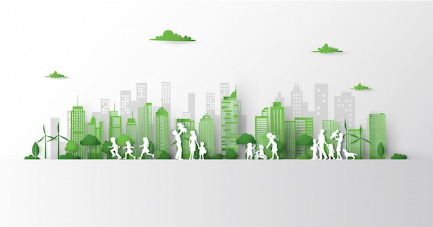 Concept groene stad met het voortbouwen op aarde. Premium Vector