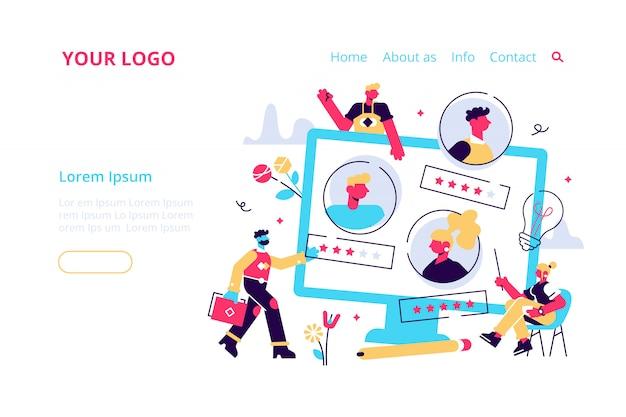 Concept human resources, werving voor webpagina, banner, presentatie, sociale media, documenten, kaarten, posters. illustratie, werknemers inhuren, beoordelingsbeoordeling, feedbackevaluatie. Premium Vector