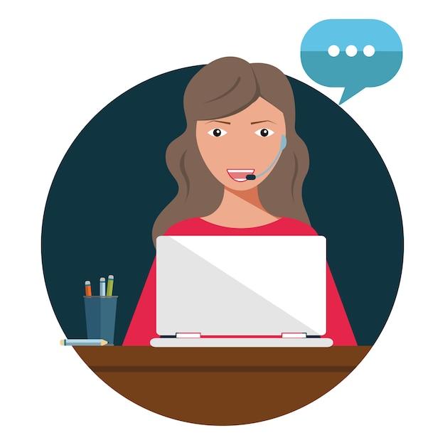 Concept klant en operator, online technische ondersteuning 24-7 voor webpagina. Premium Vector