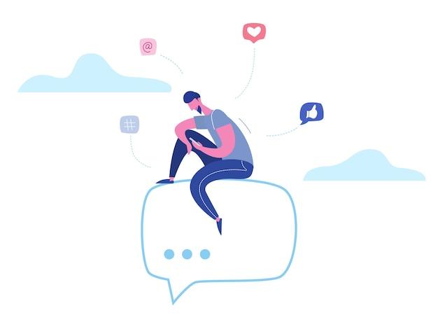 Concept man karakter chatten op telefoon in sociale media, netwerk bubbels. illustratieontwerp voor webbanner, marketingmateriaal, bedrijfspresentatie, online reclame Premium Vector
