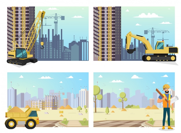 Concept moderne stad bouw gebouwen Premium Vector