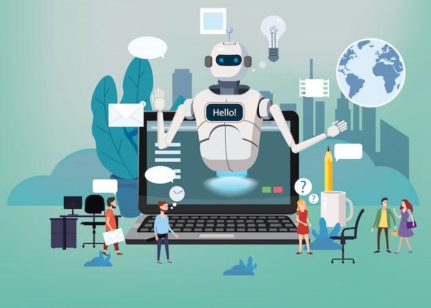 Concept online gratis chat bot, robot virtual assistance Premium Vector