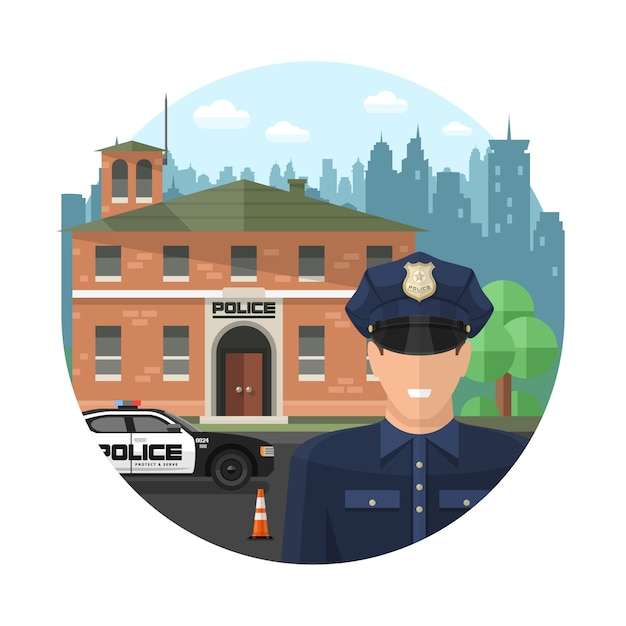 Concept politie samenstelling Gratis Vector