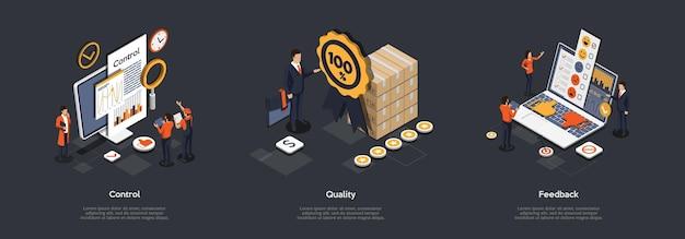 Concept productkwaliteitscontrole. set. Premium Vector