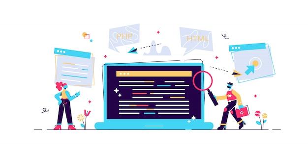 Concept programmeur, codering, programmeren, website- en applicatie-ontwikkeling. illustratie, applicatie ontwikkeling, software api prototyping en testen, interface bouwproces, opstarten Premium Vector