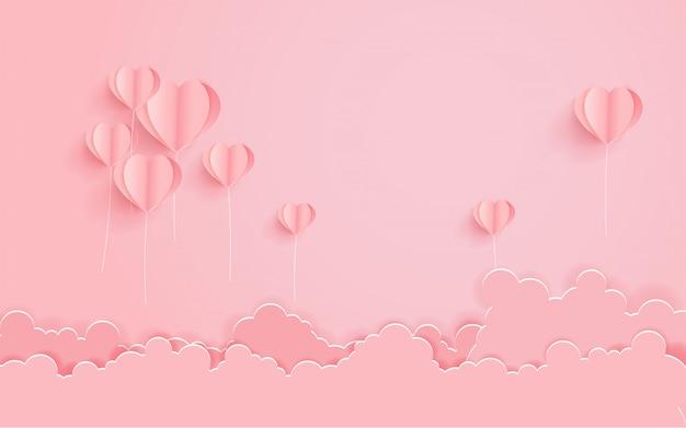 Concept valentijnskaartdag met het hartvorm van de hete luchtballon. Premium Vector