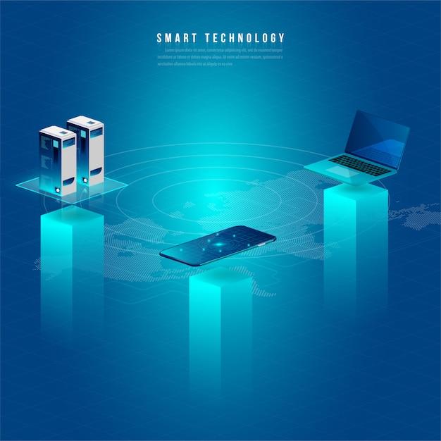 Concept van big data processing, energie station van de toekomst, datacenter, cryptocurrency en blockchain Premium Vector