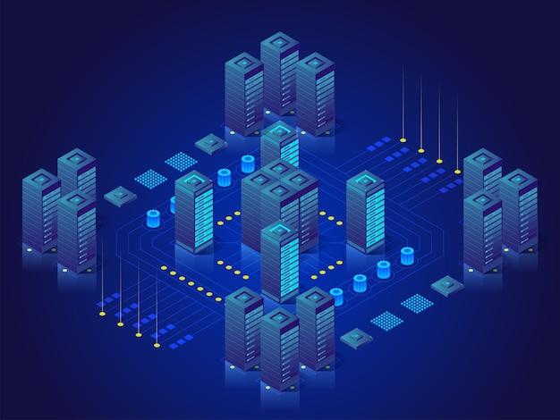 Concept van big data-verwerking, energiestation van de toekomst, serverruimte-rack, datacenter isometrische illustratie Premium Vector