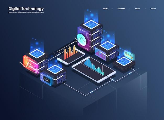 Concept van big data-verwerking, isometrisch datacenter, vector informatieverwerking en opslag. creatieve illustratie met abstracte geometrische elementen. Premium Vector