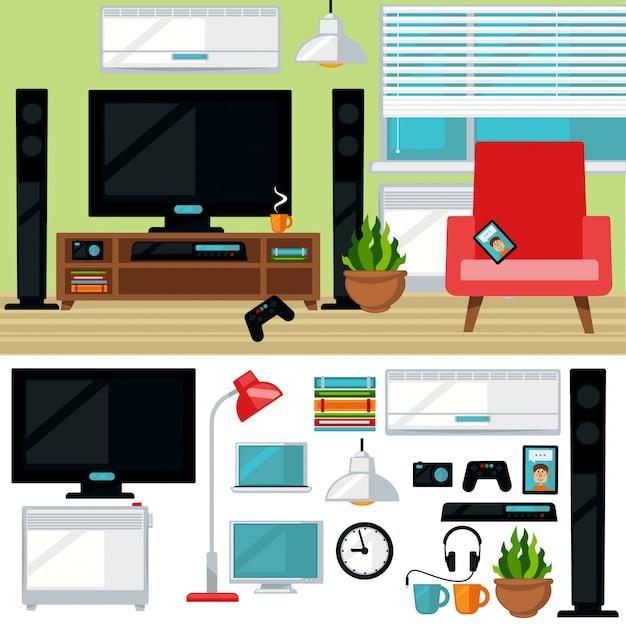 Concept van creatieve woonkamer met stoel en tv Premium Vector