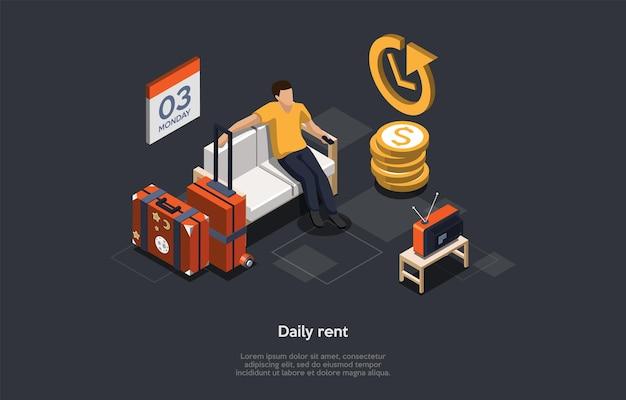 Concept van de dagelijkse huur van onroerend goed. de mens heeft voor vandaag een appartement gehuurd. Premium Vector