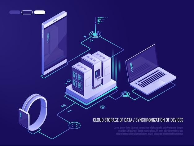 Concept van de gegevenskaart van het gegevensnetwerk met bedrijfs voorzien van een netwerkservers Premium Vector