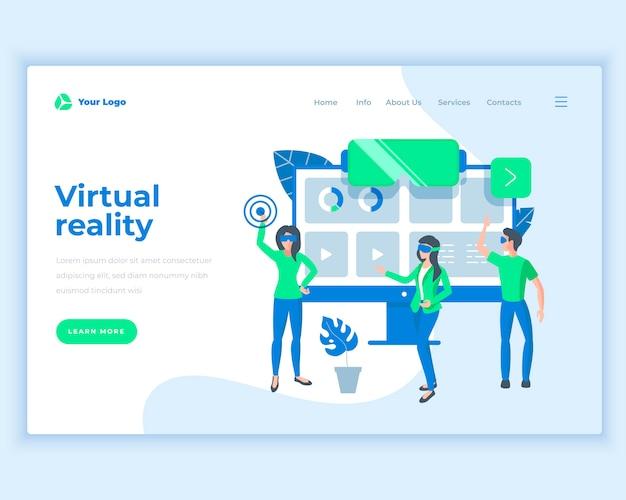 Concept van de landingspagina sjabloon virtuele realiteit met kantoormensen. Premium Vector