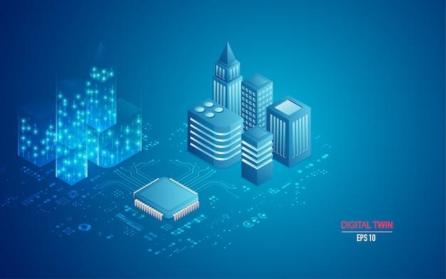 Concept van digitale tweeling in isometrisch Premium Vector