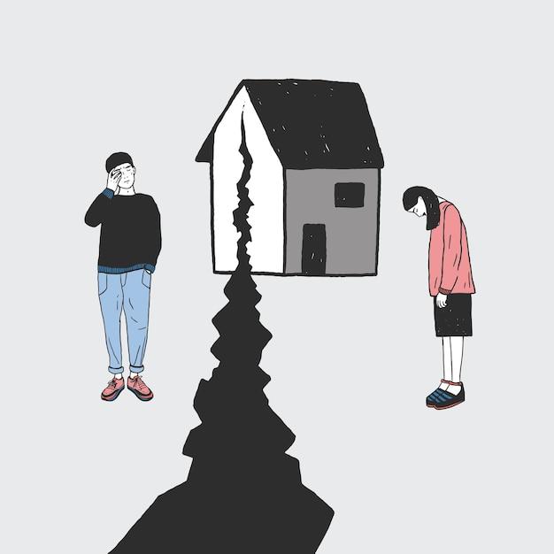 Concept van echtscheiding, barst in relaties, familiesplitsing. verdrietig meisje en jongen na het afscheid. vector kleurrijke hand getrokken illustratie. Premium Vector