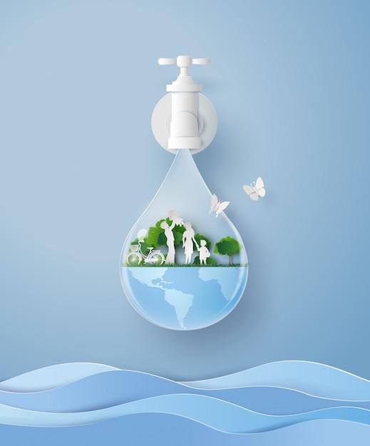 Concept van eco en wolrd water dag met familie in de tuin. papier kunst en ambachtelijke stijl Premium Vector