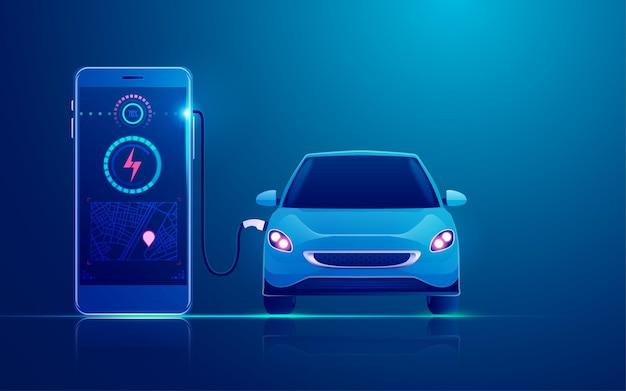 Concept van ev-laadstationtoepassing op het opladen van mobiele, elektrische auto's via mobiele telefoon Premium Vector