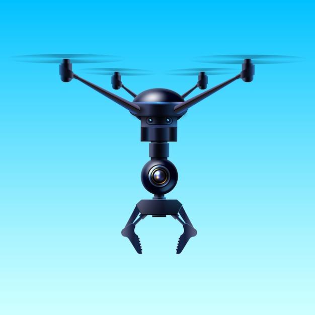 Concept van fictieve quadcopter vliegende drone met klauw geïsoleerd op blauwe achtergrond Premium Vector