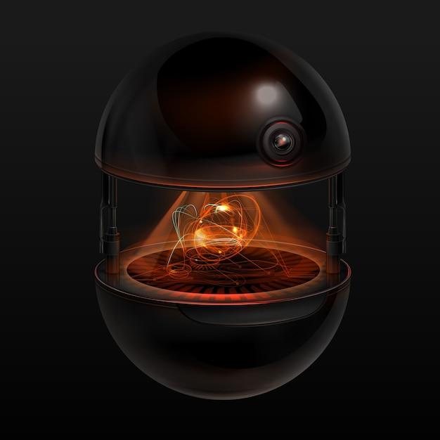 Concept van fictieve sferische drone-assistent met oranje lichtgevende interface Premium Vector