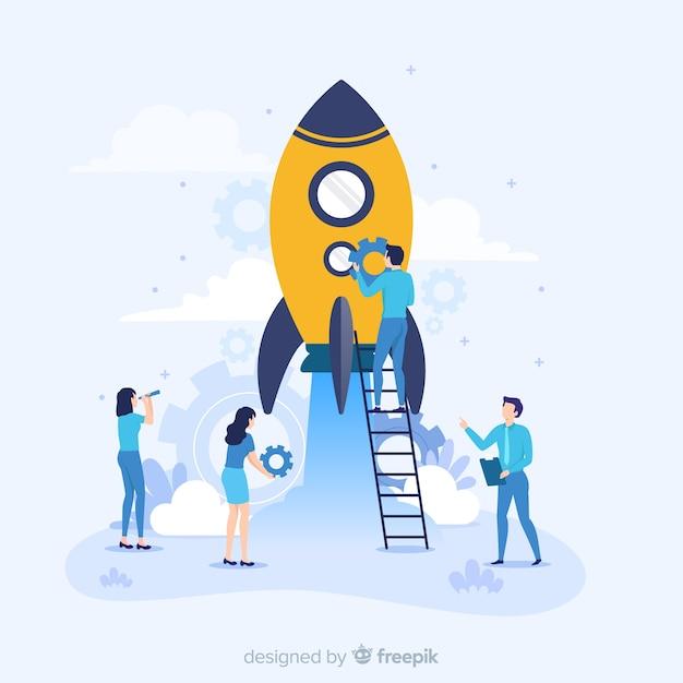 Concept van het bouwen van een raket Gratis Vector
