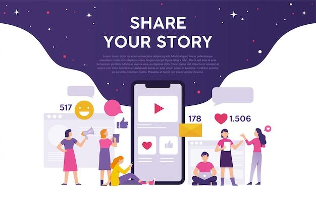Concept van het delen van uw verhaal op sociale media om waardering te krijgen Premium Vector
