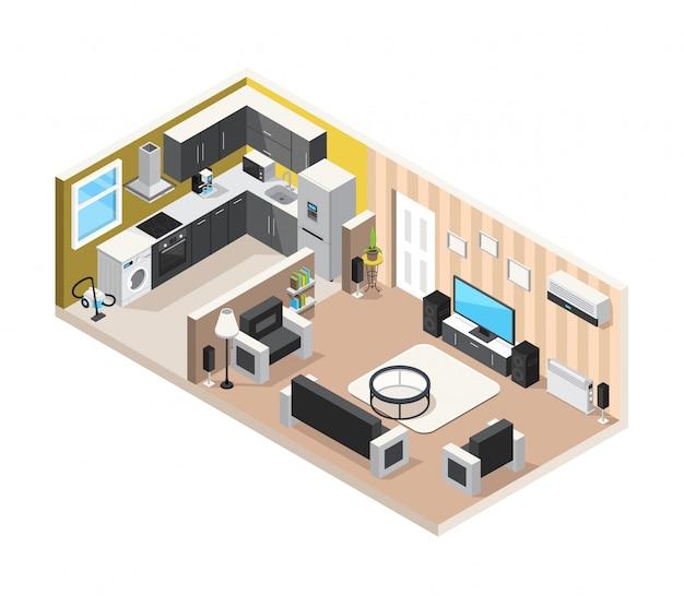 Concept van het huis het binnenlandse isometrische ontwerp met keukenwoonkamer en huishoudapparaten Gratis Vector