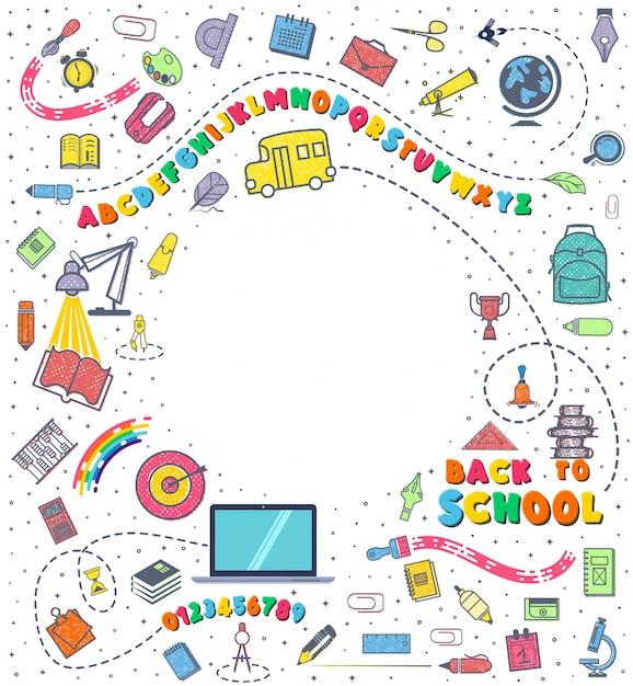 Concept van het onderwijs. schoolachtergrond met hand getrokken schoollevering. Premium Vector