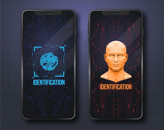 Concept van het scannen van gezichten. biometrische id met futuristische hud-interface. scanning technology concept illustratie. identificatiesysteem. Premium Vector
