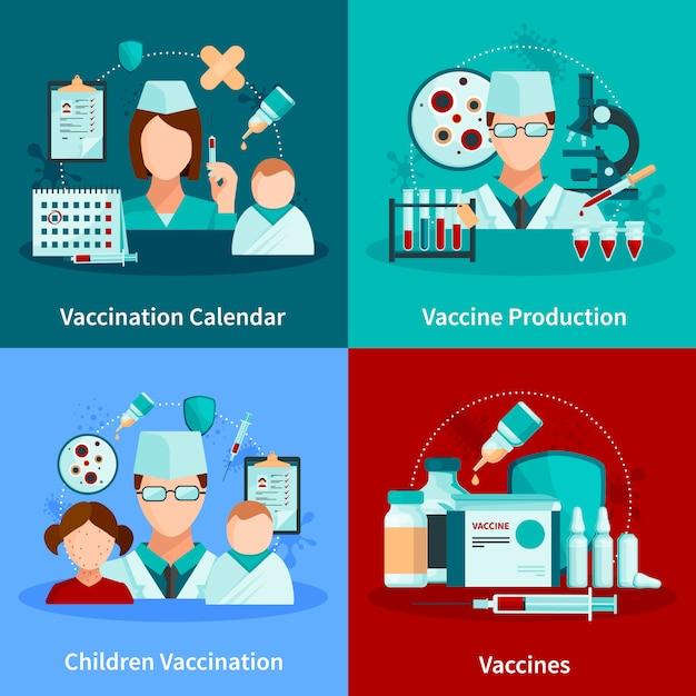 Concept van het vaccinatie het vlakke ontwerp met inentingskalender en reeks medische hulpmiddelen en van vaccinproducten vectorillustratie Gratis Vector