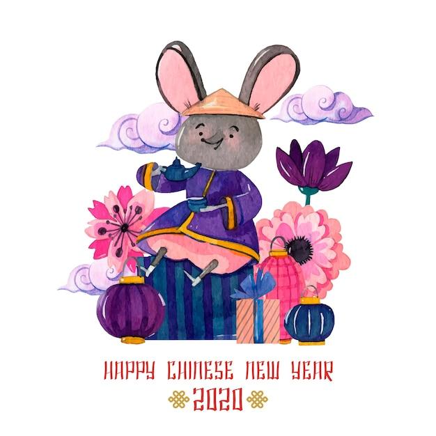 Concept van het waterverf het chinese nieuwe jaar Gratis Vector
