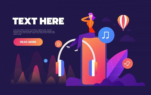 Concept van internet online muziek streaming luisteren, mensen ontspannen luisteren, muziektoepassingen, afspeellijst online liedjes, muziek blog,, Premium Vector