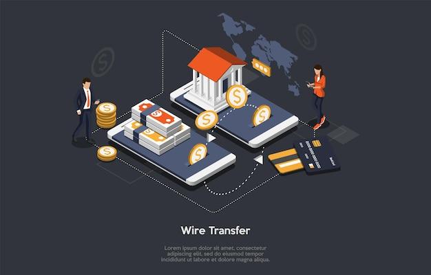 Concept van isometrische overschrijving. kleine personages op enorme smartphones. mensen betalen via overboekingen voor goederen of diensten. klanten betalen online mobiele app. Premium Vector