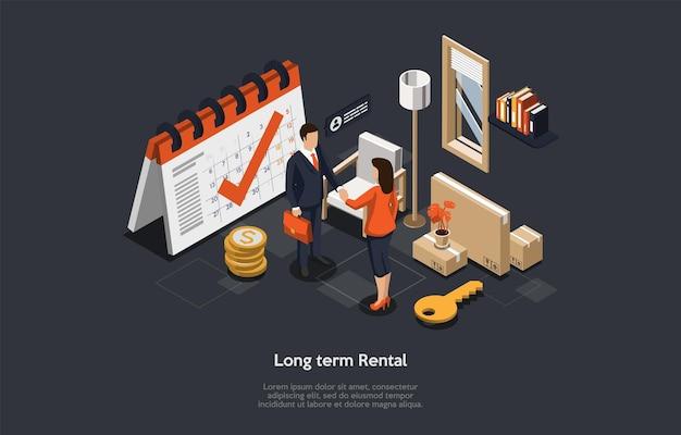 Concept van lange termijn verhuur van onroerend goed, ondertekeningsovereenkomst. Premium Vector