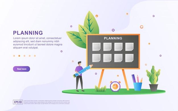 Concept van lesrooster of lesrooster, creatie van persoonlijk studieplan, planning en planning van leertijden. Premium Vector