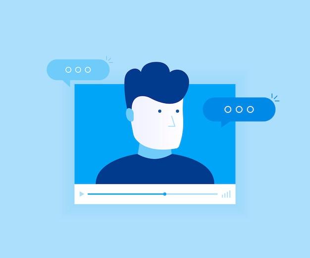 Concept van online videochat-app, internetpraat, oproeptechnologie. videospelervenster met sprekende man en berichten. moderne vlakke stijl illustratie Premium Vector