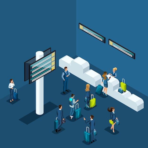 Concept van paspoortcontrole op de luchthaven, levering van spullen aan de bagageruimte, zakenvrouwen en zakenlieden op zakenreis Premium Vector