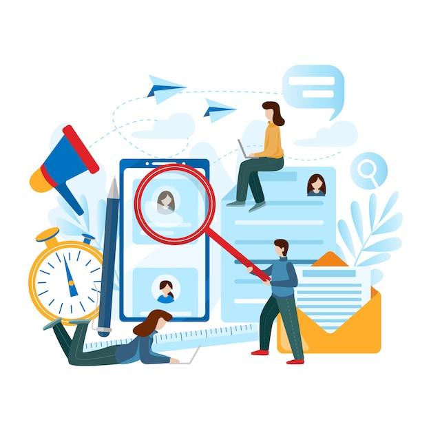 Concept van personeel, keuze, carrière, werk, cv, zoeken naar werk, professionele vaardigheden. Premium Vector