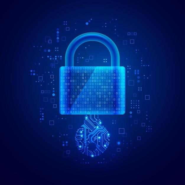 Concept van privésleutel in cyberveiligheidstechnologie, afbeelding van slotblok combineert met binaire code en elektronische sleutel Premium Vector