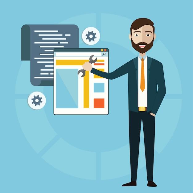 Concept van programmeur of coder workflow voor website-codering en html-programmering van webapplicatie Premium Vector