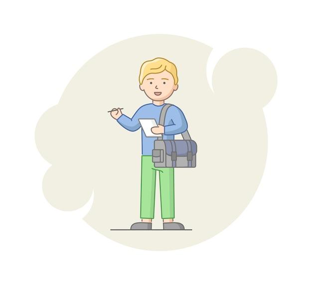 Concept van rapportage en interview. jonge man reporter verzamelen van informatie. mannelijk karakter staan met notitie en zak en klaar voor een interview. lineaire vlakke stijl. vector illustratie Premium Vector