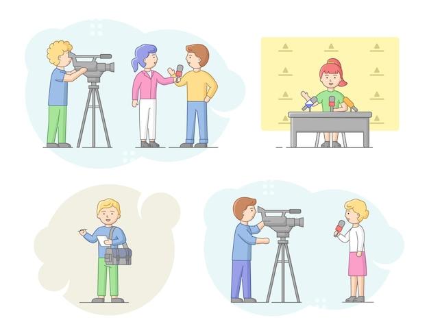 Concept van rapportage en interview. journalisten die mensen interviewen, nieuwspresentatoren en cameramensen of videografen met camera's. vraagsteller geeft interview. lineaire omtrek platte vectorillustratie. Premium Vector
