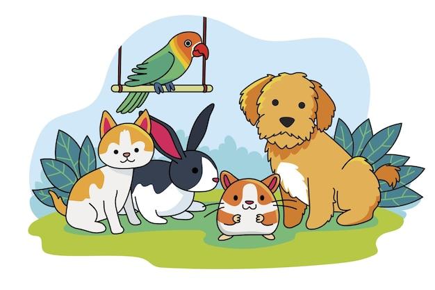 Concept van schattige verschillende huisdieren Gratis Vector